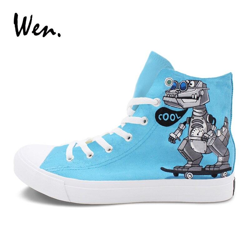 Wen Design Peint À La Main Chaussures De Bande Dessinée Crocodile Dragon Robots Rouler Skate Haut Rouge Bleu Toile décontracté Unisexe Baskets - 2