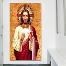 Modern Home Wall Decor Print Type Canvas Painting For Living Room Artwork Picture 3 Panel Jesus Sumo And Eternal Pastor Poster