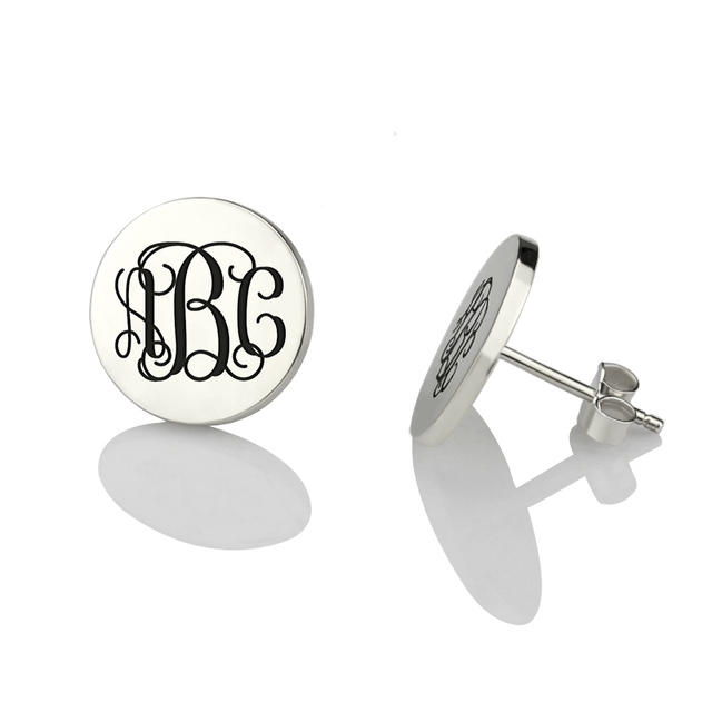 Whole Monogram Stud Earrings Circle Engraved Initial Sterling Silver Bridesmaid For Women