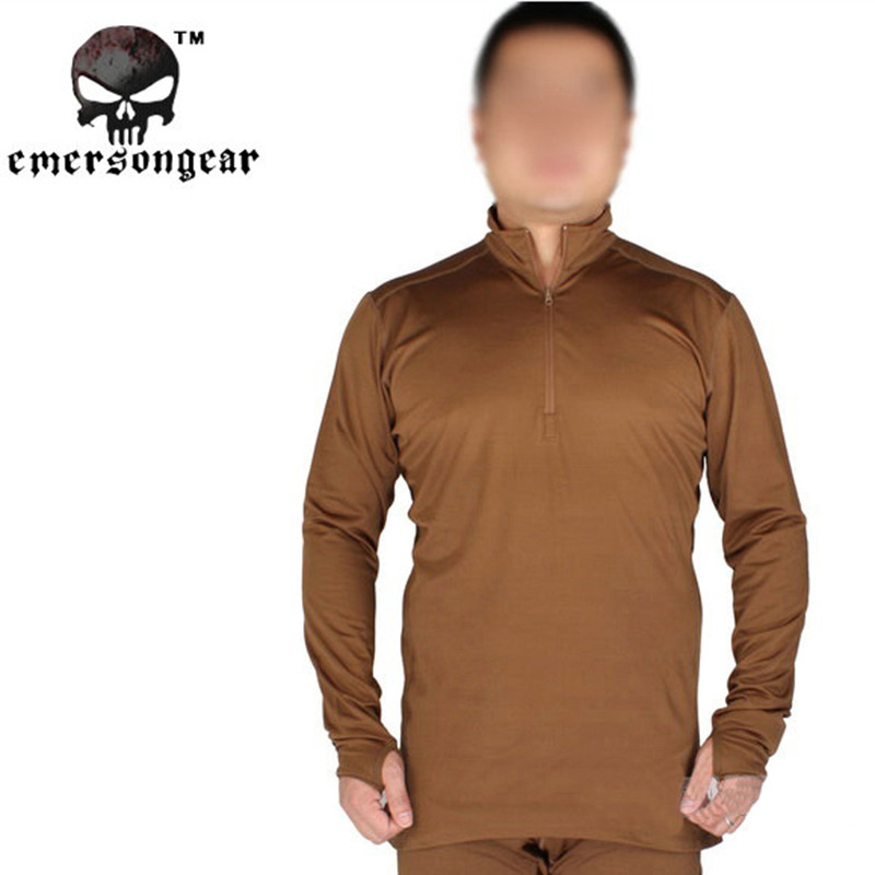 ФОТО Emerson Zipper Version Man Winter Breathable Warm Underwear Tactical Airsoft Paintball Military Thermal Clothing Shirt S-2XL