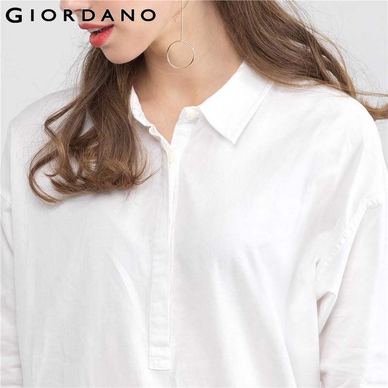e9dd1e5980 Giordano Women Shirt Dress Collar Straight Dresses Spring Woman Sleeves  Three Quarters Ladies Clothing Brand Online Shop-in Dresses from Women s  Clothing on ...