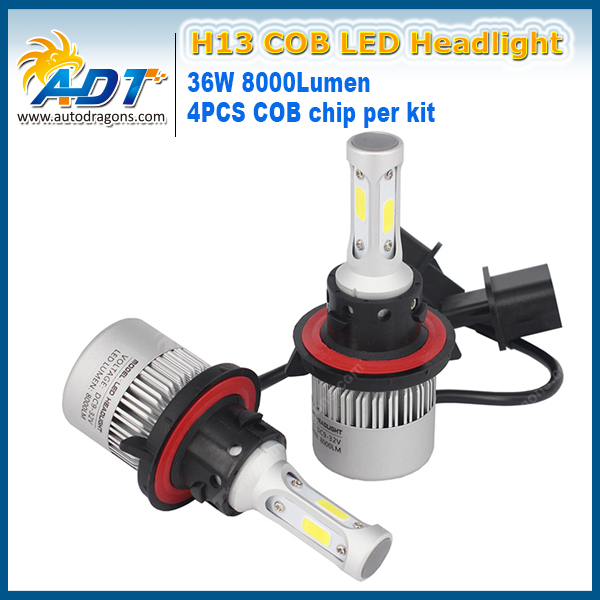 S2 удара H13 Hi Lo Луч 72 Вт 8000LM автомобильной мотоцикла водонепроницаемый LED вождения лампа фары комплект автомобиля туман авто лампа
