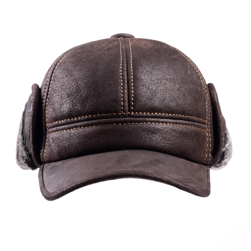Image 4 - RY9100 Male Winter Genuine Leahter Suede Bomber Hat Man Nubuck Thick Head Warm Dome Caps Elder Black/Brown sewing Fitted GorrasMens Bomber Hats   -