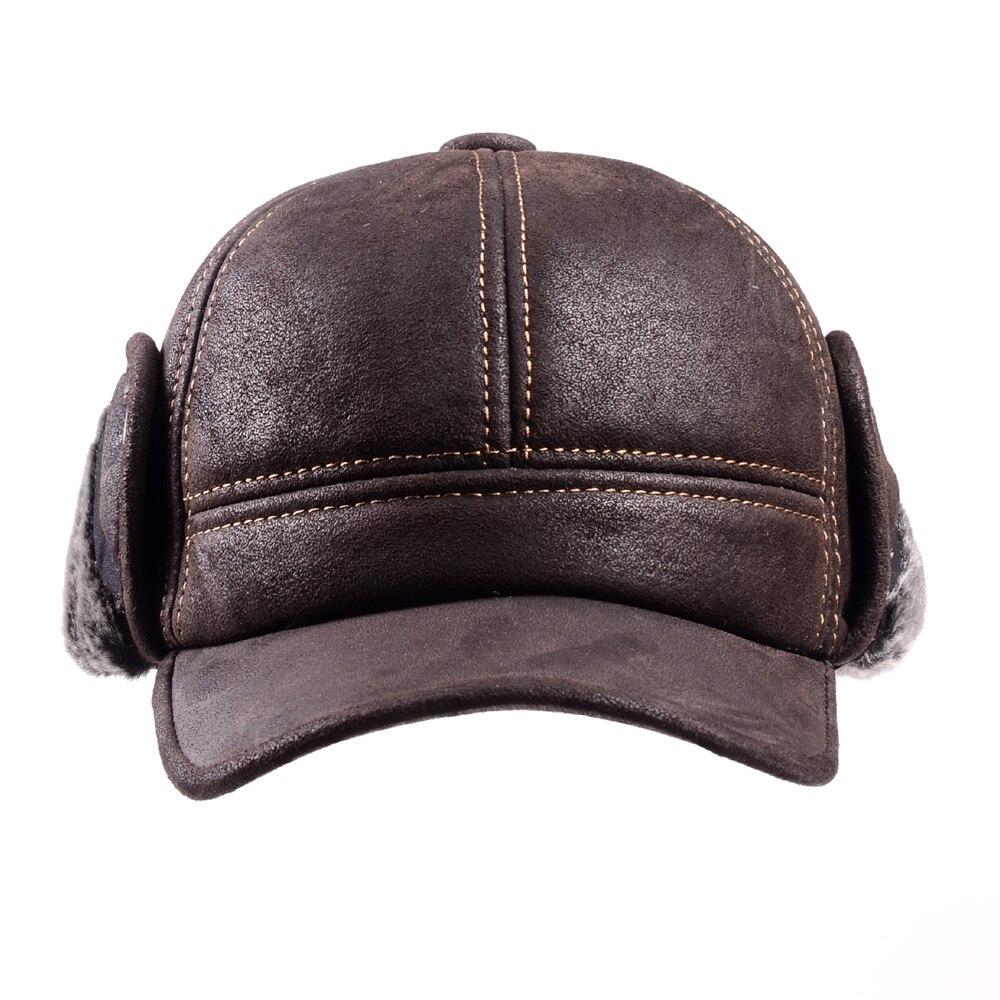 Image 4 - RY9100 Мужская зимняя шапка бомбер из натуральной кожи и замши, мужская шапка из нубука с толстой головкой, теплая шапка с куполом, черная/коричневая шапка с шитьем-in Мужская куртка-бомбер шляпы from Аксессуары для одежды on AliExpress - 11.11_Double 11_Singles' Day
