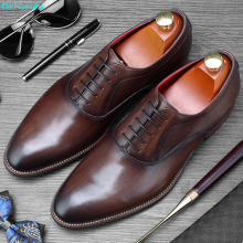 QYFCIOUFU 2019 Mens Oxford Dress Shoes Lace-up Handmade Formal Men Genuine Leather Wedding Office Business Italian