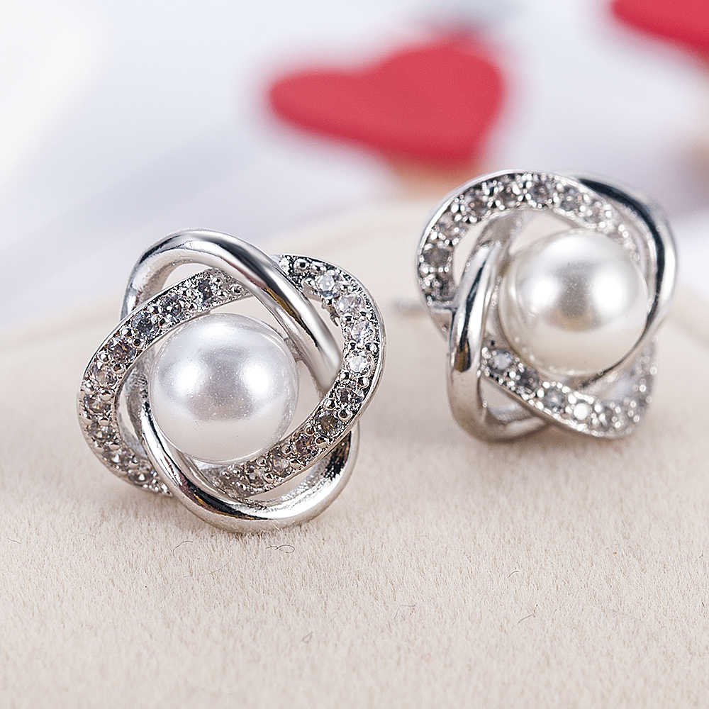 2019 Plated Silver Crystal Star Pearl Ear Stud Earrings For Women Wedding Jewelry Bridal Accessories Boucle D'oreille Femme
