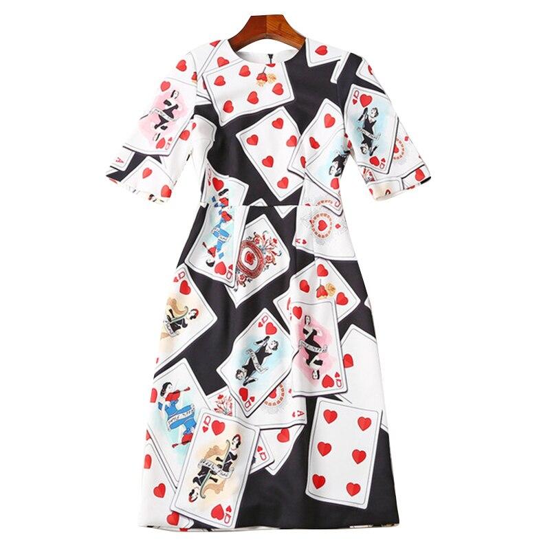 Manches 2017 À cou Femmes Piste Haute Npd0283n De Automne O Demi Cartes Qualité Robes Casual Robe Imprimé Jouer pqRPfqSw