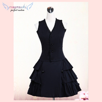 Gorgeous Black Cotton Lolita Vest And Skirt Outfits Ruffles Lace Trim !