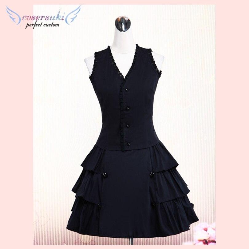 Superbe coton noir Lolita gilet et jupe tenues volants dentelle garniture!