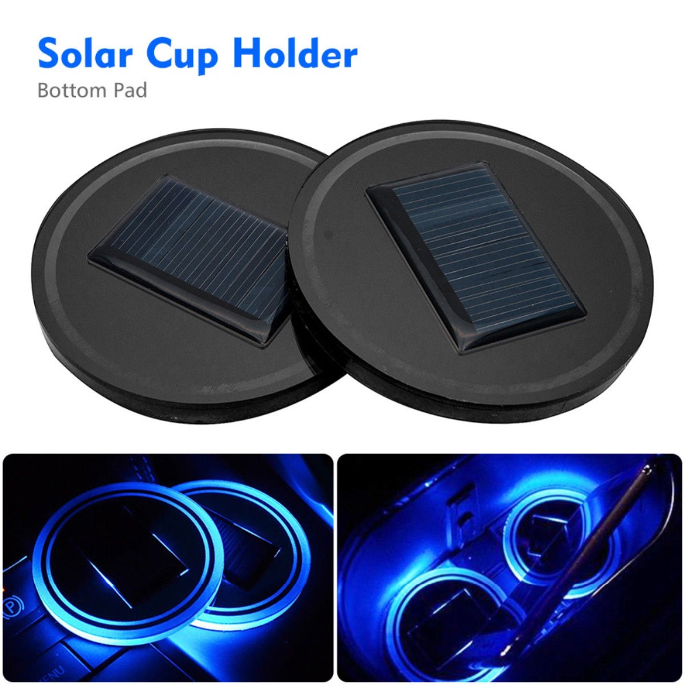 Car Solar Cup Holder Bottom Pad LED Light Cover Trim Atmosphere Lamp Lights Red