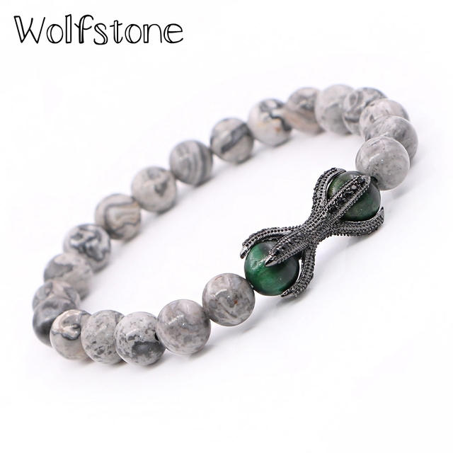 Wolfstone Nature Gray Beads Eagle Claw Bracelet With Green Tiger Eye Micro Inlay Zircon For
