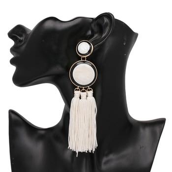JUJIA de moda Boho declaración pendientes para las mujeres larga borla pendientes resina pendientes colgantes de flecos
