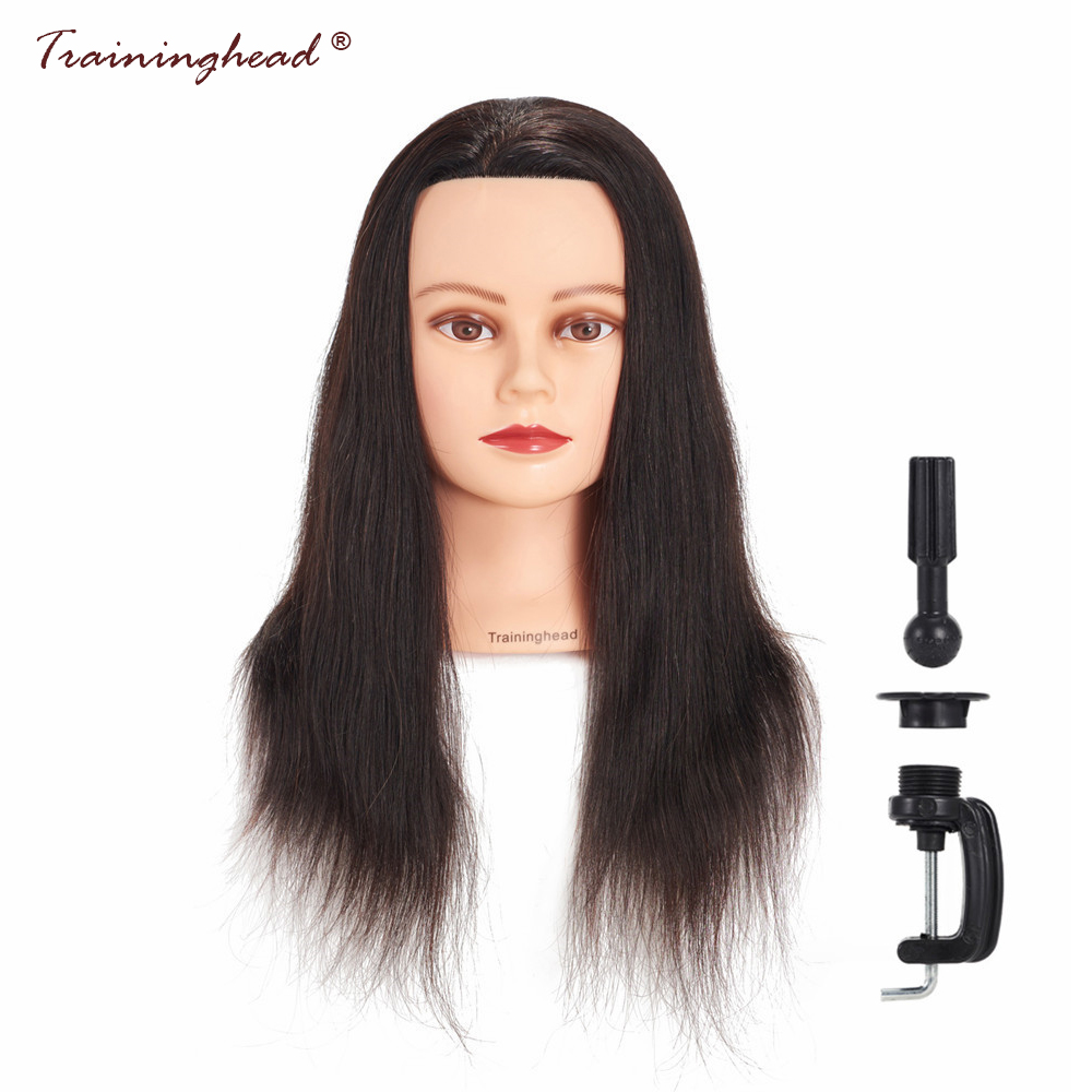 Traininghead 20-22 Black Hair Mannequin Head Hairstyles Human Hair Professional Hairdressing Training Practice Head Hairdresser
