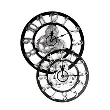 Retro wall clock Industrial Style Vintage Clock European Steampunk Gear Wall Home Decoration modern design 3d wall clock 2019(China)