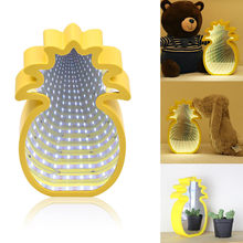 LED Pineapple Lamp Tunnel Light 2019 New LED Space-time Mirror Tunnel Lamp Holiday Home Decor Night Light Bedroom Lamps(China)