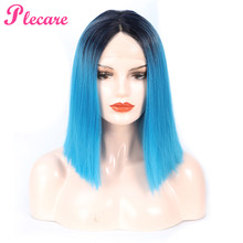 Plecare Ombre Synthetic Lace Front Wig Straight Hair 14 Inch Pruiken For Women Wig Blue High Temperature Fiber Short Wigs(China)