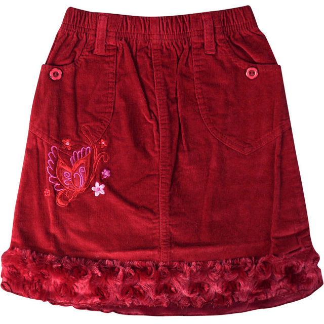 Rojo de la muchacha de mini bordado de la Pana Estampado de flores Recta faldas Sobre La Rodilla de terciopelo dobladillo bolsillos ZQ-B53125