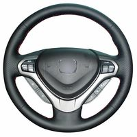 leather hand Top Leather Steering Wheel Hand-stitch on Wrap Cover For Honda Accord Spirior (2)