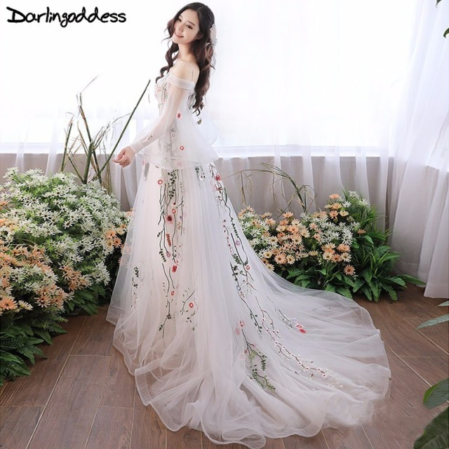 Darlingoddess Pregnant Wedding Dresses Elegant Long Sleeves