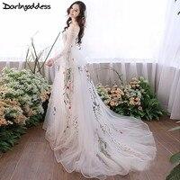 Darlingoddess Pregnant Wedding Dresses Elegant Long Sleeves Embroidery Beach Wedding Gowns Pregnancy Women Photography Dresses
