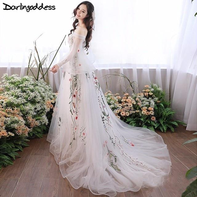 Darlingoddess беременных Свадебные платья элегантная одежда с длинным рукавом Вышивка Пляж Свадебные платья Беременность Для женщин фотографии Платья для женщин