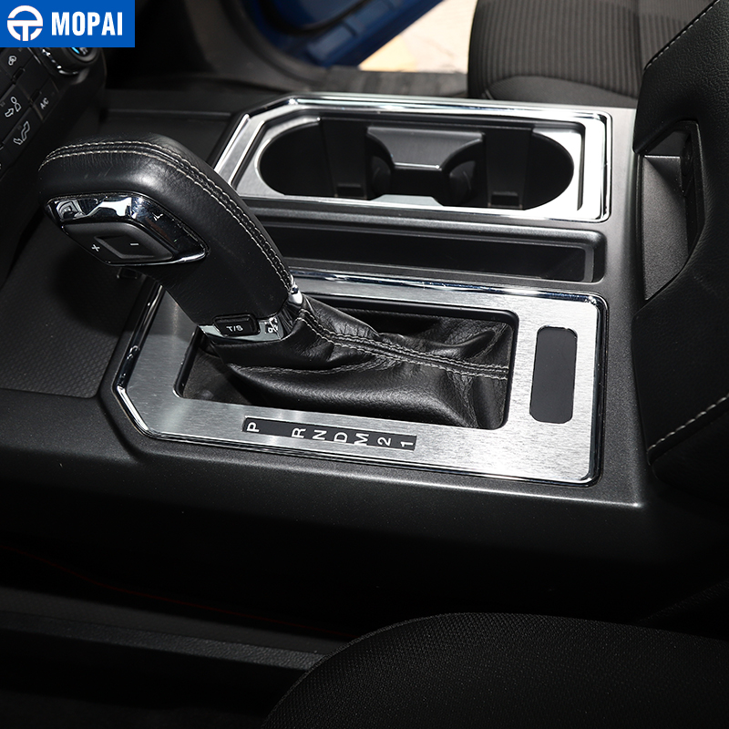 Image 5 - MOPAI Car Interior Gear Shift Panel Front Rear Cup Holder Decoration Cover Sticker for Ford F150 2016 Up Car Accessories Styling-in Interior Mouldings from Automobiles & Motorcycles