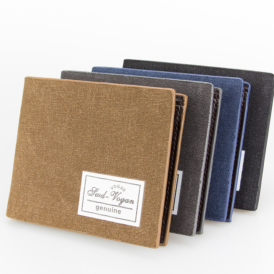 Leather Wallet Men Canvas Surface Short Wallet Classic Bifold Wallet Card Holder Bill Purse Portable Hand Wallet