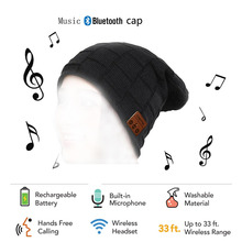 CHENFEC Beauty New Soft Warm Beanies Bluetooth Hat Wireless Bluetooth Cap Headset Speaker MP3 Smart Headphone
