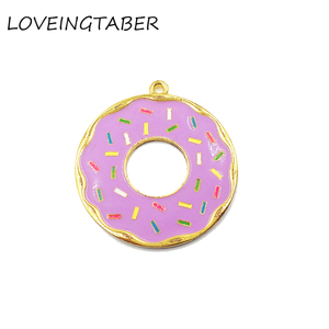 Image 4 - ( Choose Color First )  41mm 10pcs/lot Alloy Doughnut , Full Enamel Donut Pendants For Kids Jewelry Making