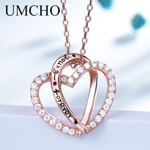 UMCHO 925 Sterling Silver Rose Gold Color Connected Love Pendant Neklaces for Women Cute Romantic Engagement Fine Jewely Gift(China)