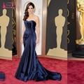 Dark Navy Sirena Larga celebrity Vestido de 2017 Por Encargo Formal Azul Vestido de Noche vestido de festa TB1767