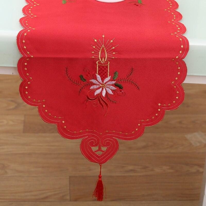 1 шт. Домашний текстиль Рождество тема Ужин Ткань Узкие скатерти современный Кофе настольный флаг Вышивка Ленточки @ LS