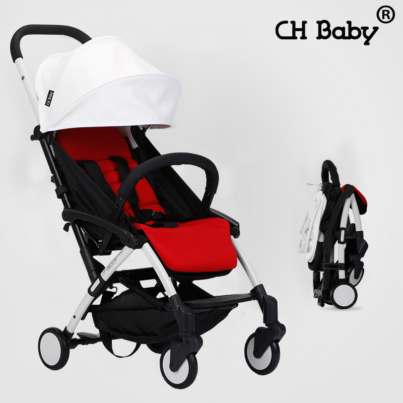 CH Baby Lightweight 6KG Baby Stroller with Aluminum Alloy frame, rubber wheel portable baby pram, baby travel carriage with bag