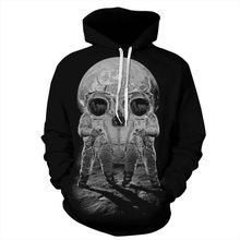 3D Print Space Skulls Hoodies Men/Women Sweatshirt Hooded Casual Loose Thin Pullover
