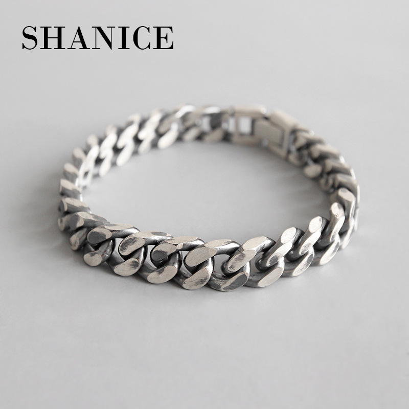 SHANICE Men Korean S925 sterling silver bracelet INS wind simple retro old chain female bracelet couple silver chain ornaments