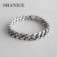 SHANICE Men Korean S925 sterling silver bracelet INS wind simple retro old chain female bracelet couple silver chain ornaments