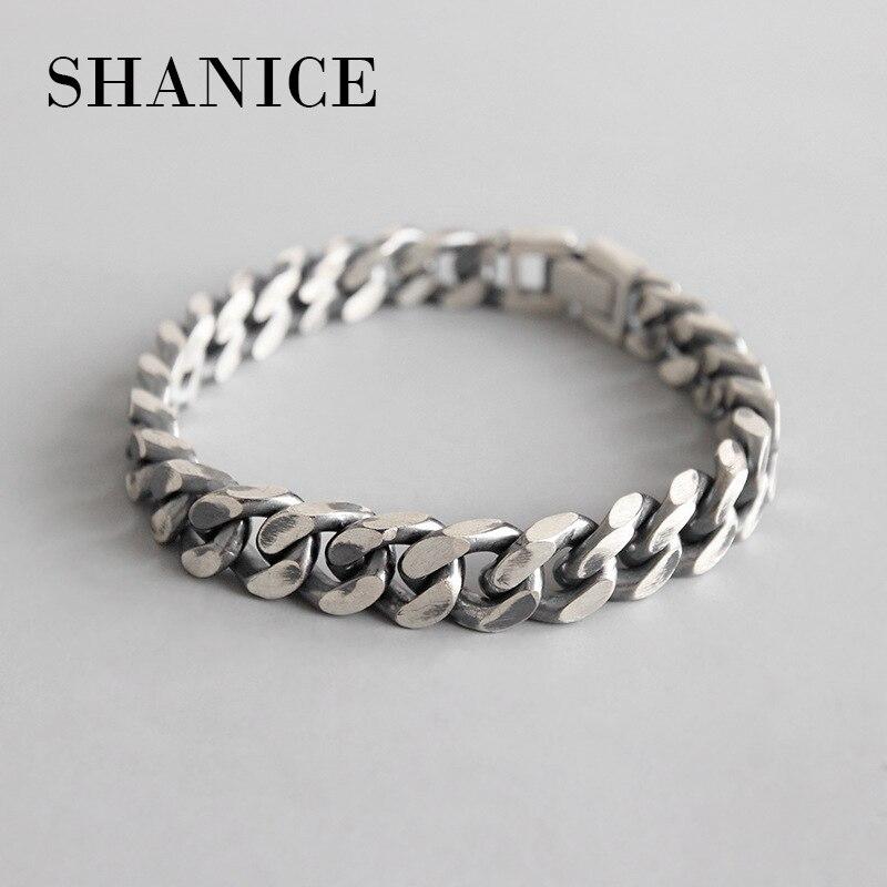 SHANICE hommes coréen S925 bracelet en argent sterling INS vent simple rétro ancienne chaîne femme bracelet couple argent chaîne ornements
