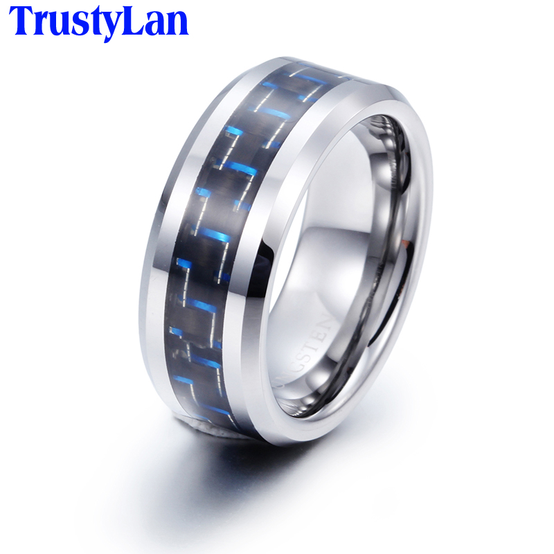 TrustyLan Brand 8MM Tungsten Ring Men With Carbon Fibre Insetted Cool Retro Mens Finger Rings