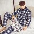 Hot 2017 Men's Pajamas New Men's Pajamas Winter Warm Pajamas Suit Plus Velvet Thickening Men 's Home Apparel Free Shipping JC