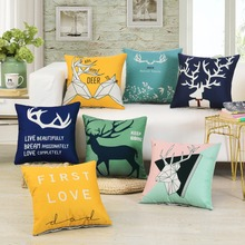 Nordic Style Deer Cushion Cover 45x45cm Home Decor Sofa Pillowcases Linen Throw Pillow Covers Car Covers Letters Pillow Cover цены