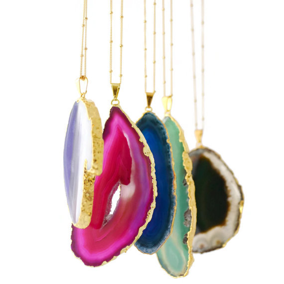 Large Slice stone Necklace Layering Tribal Boho a gate Necklace colorful gold trim natural colorful stone