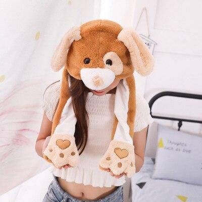 Новинка, Мультяшные шапки с подвижными ушками, милый Игрушечный Кролик, шапка с подушкой безопасности, Kawaii, забавная шапка для девочек, детская плюшевая игрушка, рождественский подарок - Цвет: Binocular dog