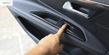 Lapetus Accessories Fit For Peugeot 3008 3008GT 2017 2018 2019 Inner Car Door Armrest Window Lift Button Molding Cover Kit Trim