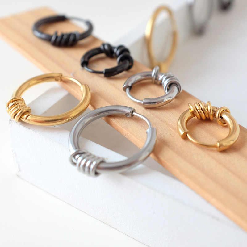 Men/Women Punk Titanium Steel Earrings Small Circle Round Wire Earrings  Anti-allergic 316L Stainless Steel Ear ring Jewelry