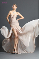 Champagne Evening Dresses 2018 Mermaid Sweetheart Chiffon Backless Slit Plus Size Long Evening Gown Prom Dresses