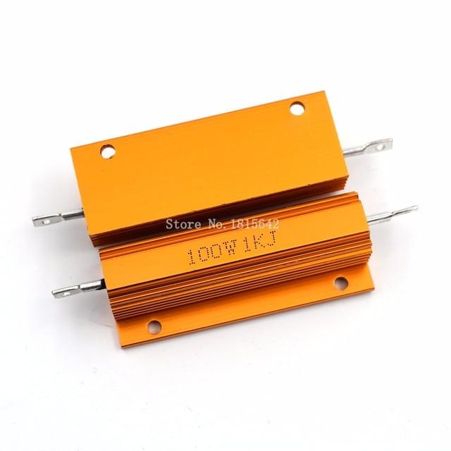 RX24 100 Вт 1kr 1krj 1kj металла В виде ракушки из алюминия золото резистор Мощность радиатора сопротивление Золотой теплоотвод резистор 100 ватт 1 К Ом