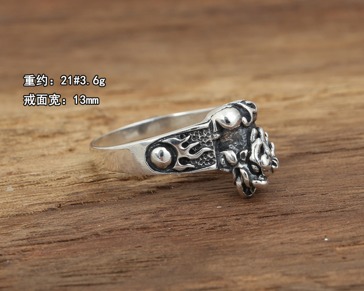 Silver jewelry handmade Thai silver retro Ring Mens Ring s brave personality