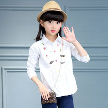 Embroidery Fish School Blouses For Girls White Cotton Baby Girl Shirt Long Sleeve Students Costumes Kids Tops 6 8 10 12 14 Years