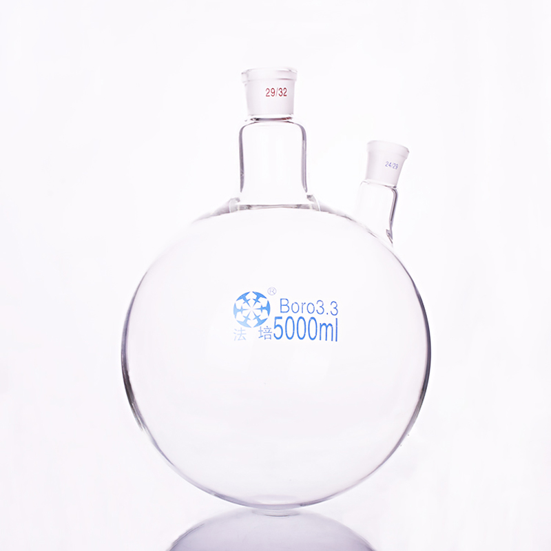 Double deck cylindrical two necked flat bottom flask Capacity 50ml Joint 24 29 Mezzanine jacketed reactor