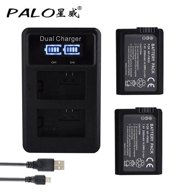 2Pcs 2000mAh NP-FW50 NP FW50 Battery AKKU+ LED Dual Charger for Sony Alpha a6500 a6300 a7 7R a7R a7R II a7II NEX-3 NEX-3N NEX-5 np fw50 battery for sony nex 3c nex 3d nex 5 nex 5a nex 5db alpha a7